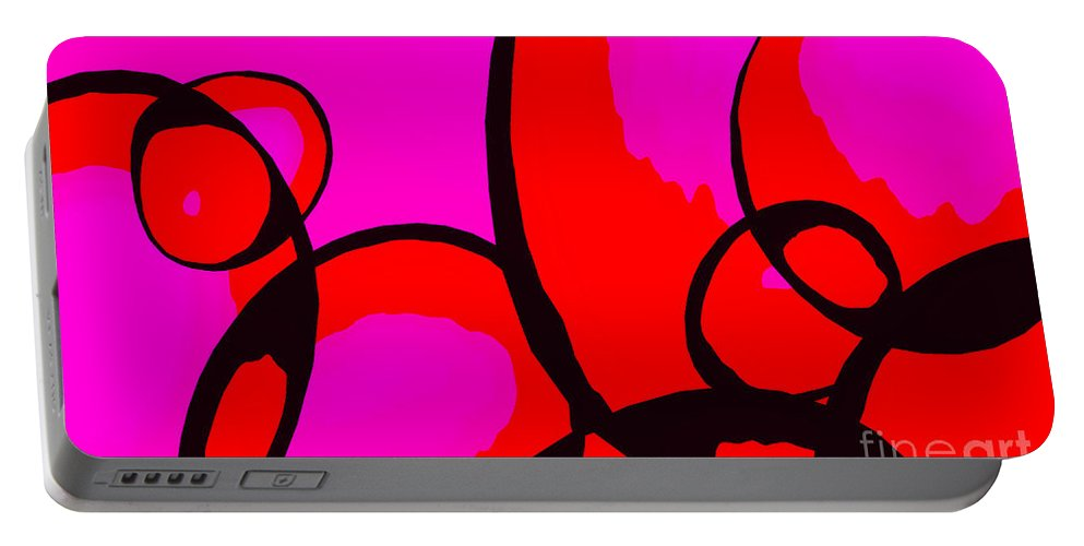 Abstract Portable Battery Charger featuring the digital art Qualia by Richard Rizzo