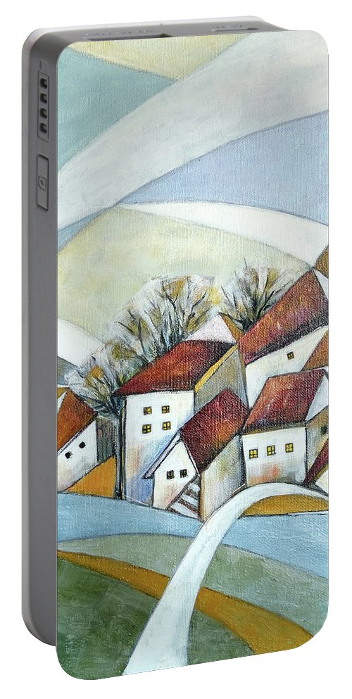Abstract Portable Battery Charger featuring the painting Quiet Village by Aniko Hencz