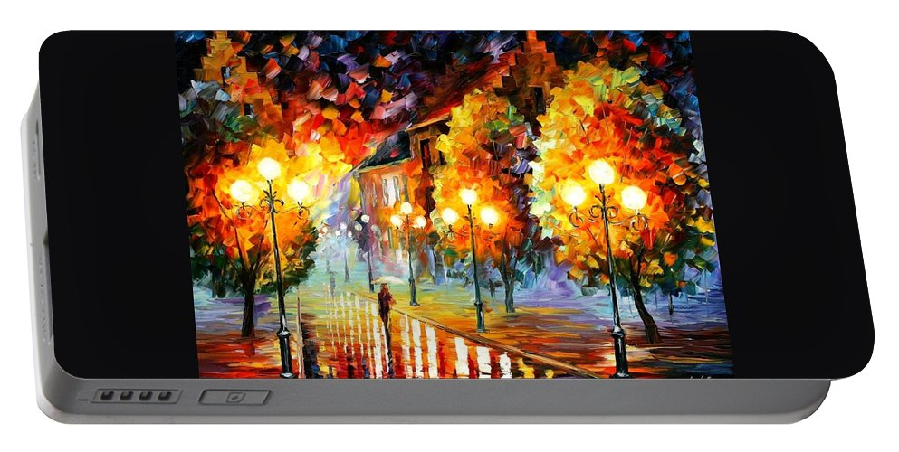 Afremov Portable Battery Charger featuring the painting Rain In The Night City by Leonid Afremov