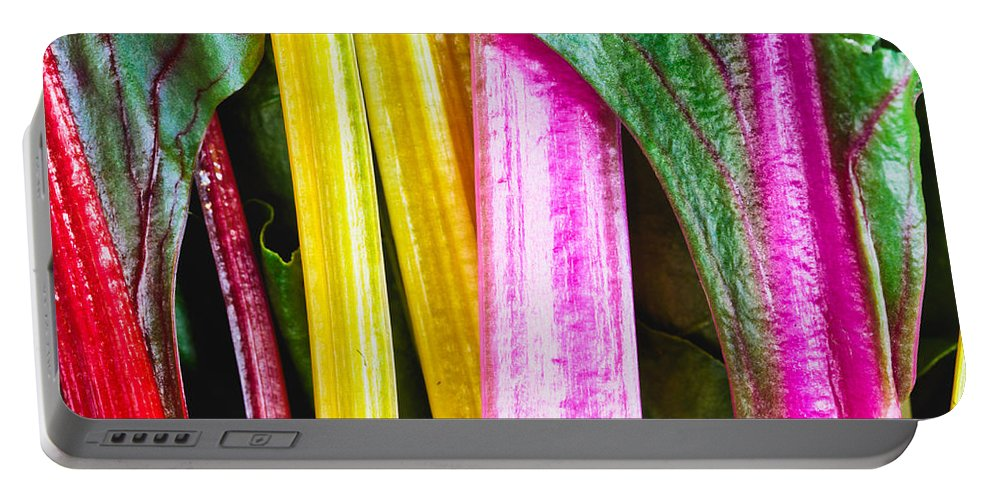 Chard Portable Battery Charger featuring the photograph Rainbow Chard by Tom Gowanlock