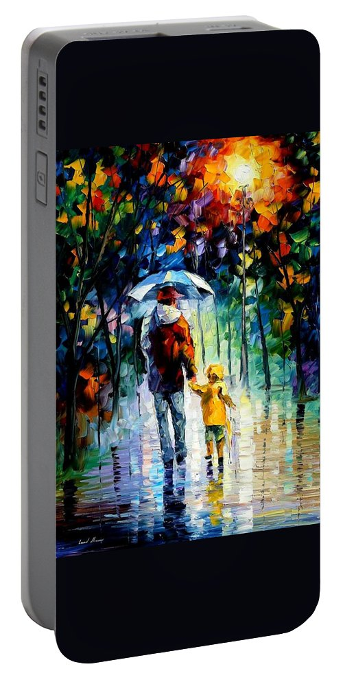 Portable Battery Charger featuring the painting Rainy Walk With Daddy by Leonid Afremov