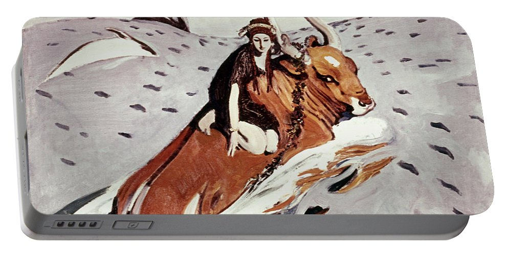 1910 Portable Battery Charger featuring the painting Rape Of Europa by Granger