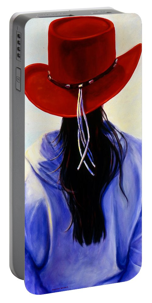 Red Portable Battery Charger featuring the painting Red Ahead by Shannon Grissom