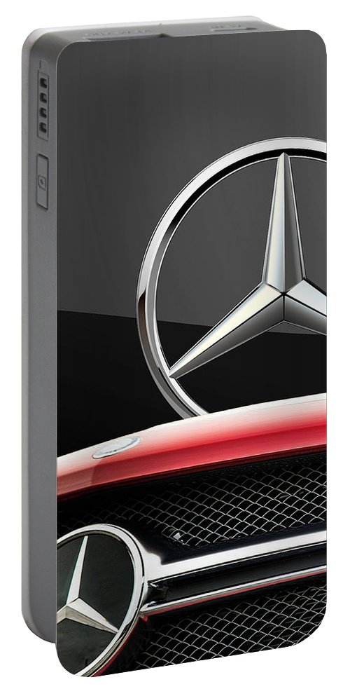 'auto Badges' By Serge Averbukh Portable Battery Charger featuring the photograph Red Mercedes - Front Grill Ornament and 3 D Badge on Black by Serge Averbukh