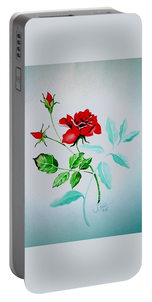 Roses Portable Battery Charger featuring the painting Red Roses by Jimmy Smith