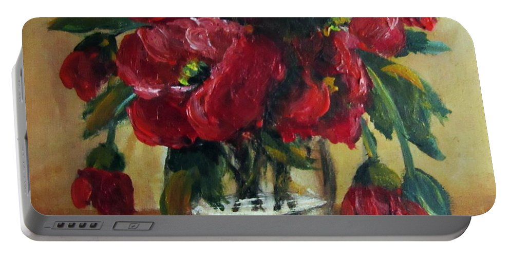 Still Life Portable Battery Charger featuring the painting RED by Vesna Martinjak