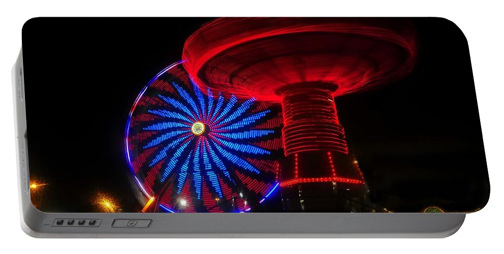 Florida State Fair Portable Battery Charger featuring the photograph Red Wheels by David Lee Thompson