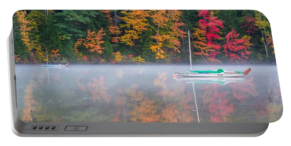 Boat Portable Battery Charger featuring the photograph Reflection Of Fall by Terry Chen