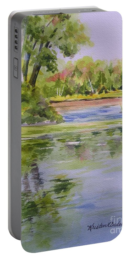 Watercolor Portable Battery Charger featuring the painting Reflections by Kristen Anderson Hill