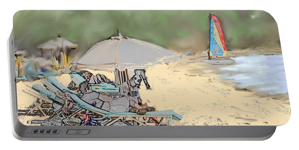 Beach. Toursts Portable Battery Charger featuring the digital art Reggae Beach by Ian MacDonald