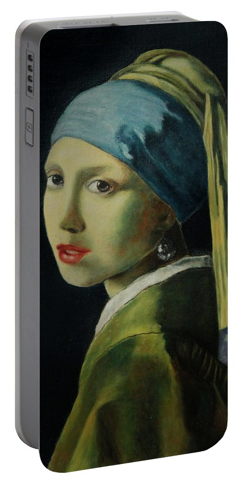 Woman Portable Battery Charger featuring the painting Reproduction by Clarissa Talve