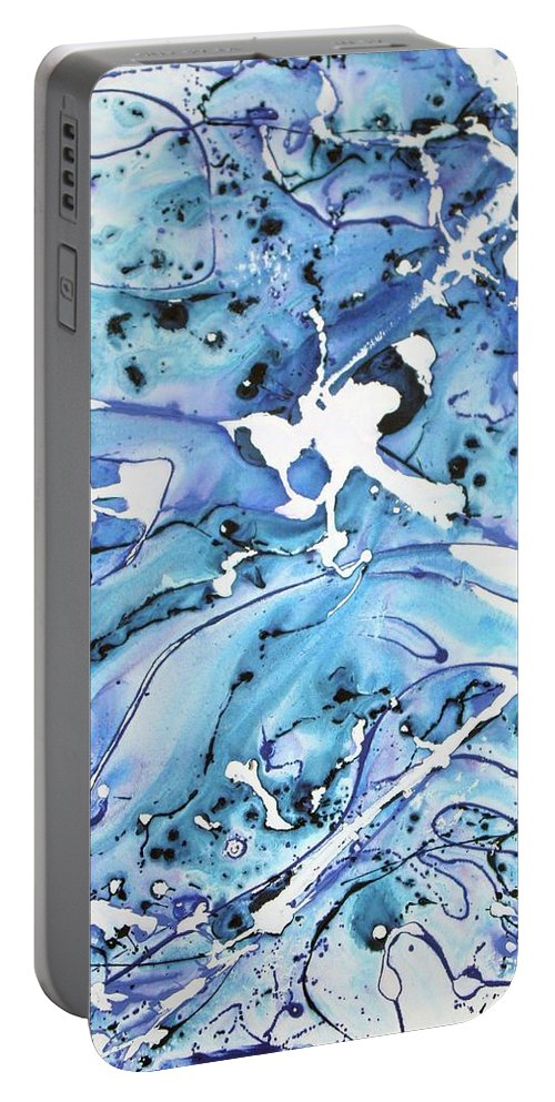 Pacific Ocean Portable Battery Charger featuring the painting Reunited Ocean Blues by Ethel Mann