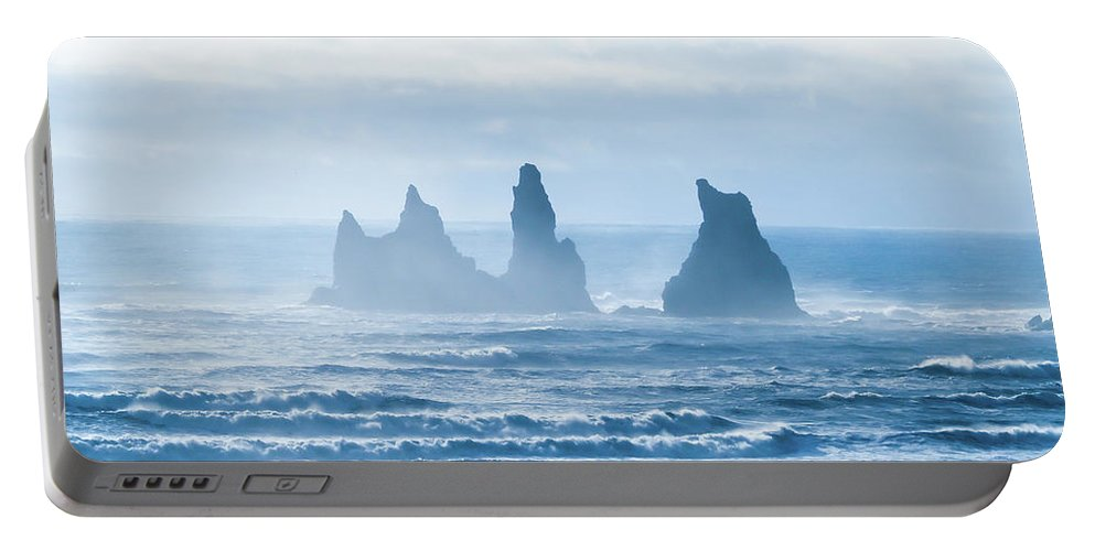 Portable Battery Charger featuring the photograph Reynisdrangar. by Angela Aird