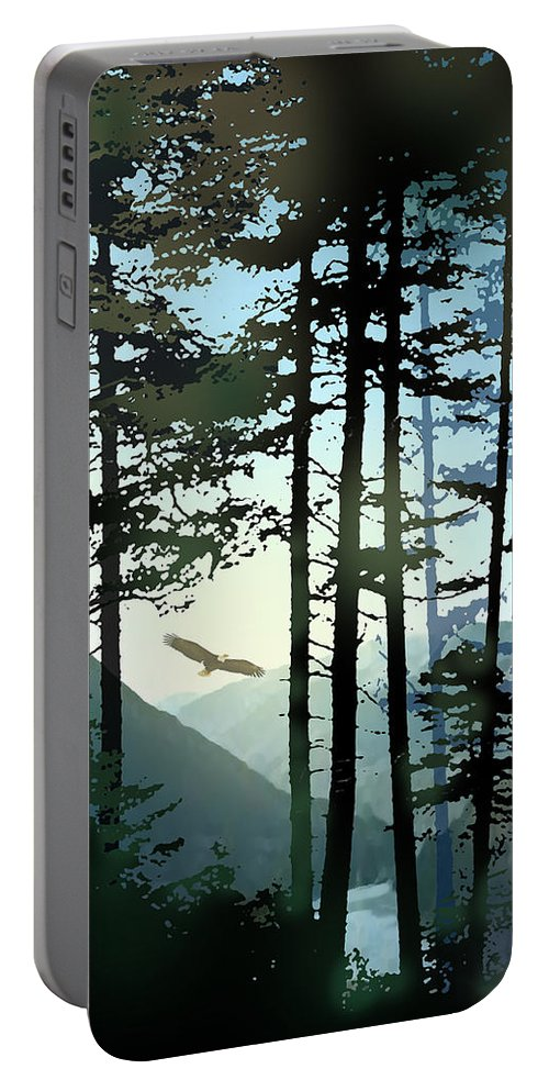 Eagle Portable Battery Charger featuring the painting Riding The Warm Currents by Paul Sachtleben