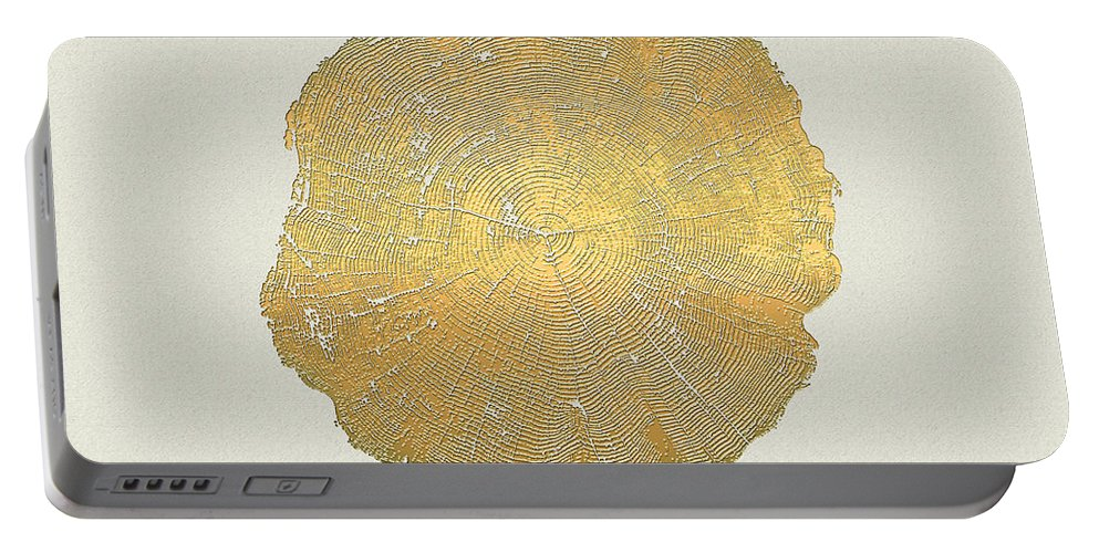 Inconsequential Beauty By Serge Averbukh Portable Battery Charger featuring the photograph Rings of a Tree Trunk Cross-section in Gold on Linen by Serge Averbukh
