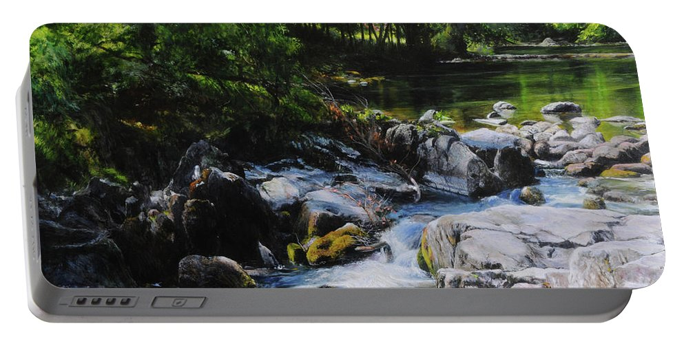 Landscape Portable Battery Charger featuring the painting River In Wales by Harry Robertson