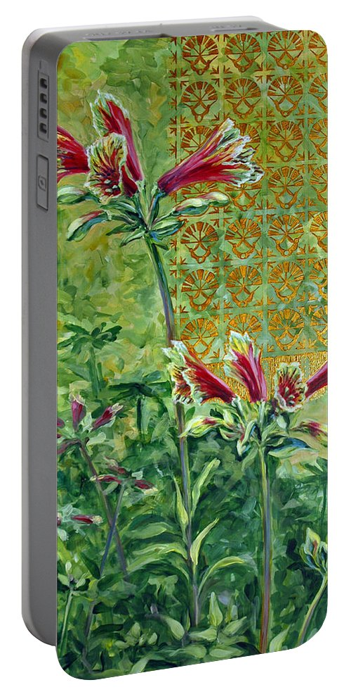 Acrylic Portable Battery Charger featuring the painting Roadside Discovery by Suzanne McKee