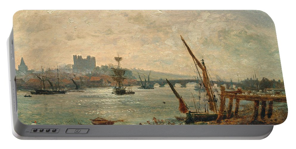 Frederick Nash Portable Battery Charger featuring the painting Rochester Cathedral And Castle by Frederick Nash