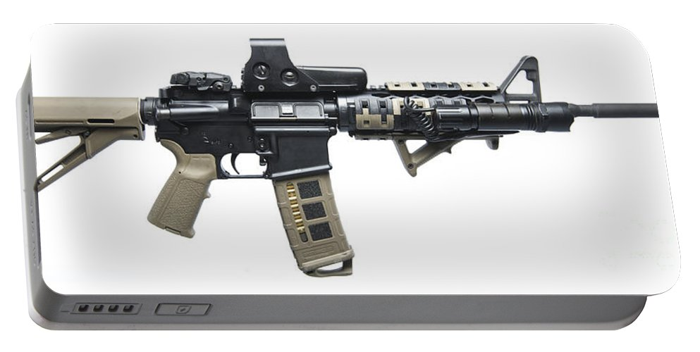 Cutout Portable Battery Charger featuring the photograph Rock River Arms Ar-15 Rifle Equipped by Terry Moore