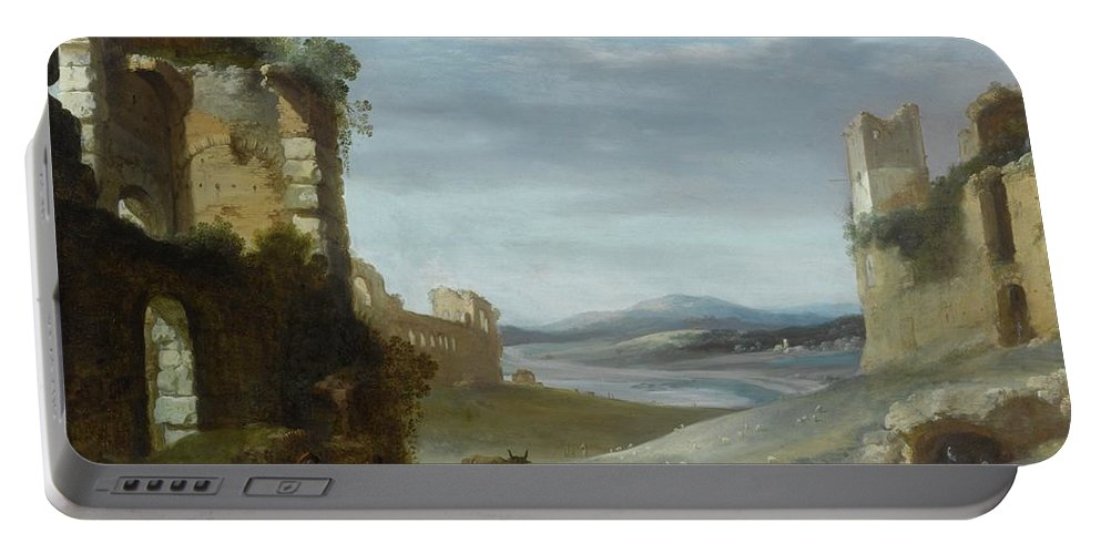 Cornelis Van Poelenburgh Roman Landscape With Ruins Portable Battery Charger featuring the painting Roman Landscape With Ruins by MotionAge Designs