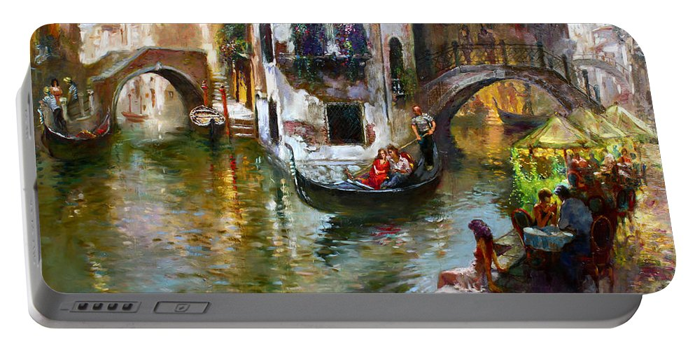Romance In Venice Portable Battery Charger featuring the painting Romance in Venice by Ylli Haruni