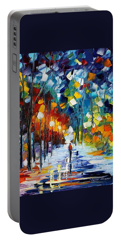 Afremov Portable Battery Charger featuring the painting Romantic Winter by Leonid Afremov