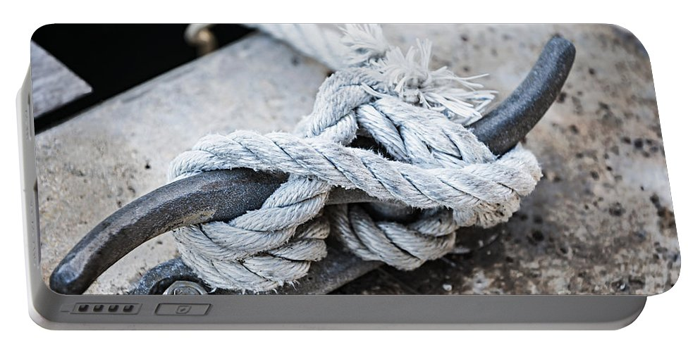 Cleat Portable Battery Charger featuring the photograph Rope On Cleat by Elena Elisseeva