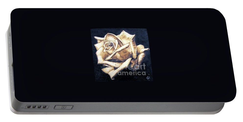Rosa Portable Battery Charger featuring the pyrography Rose by Ilaria Andreucci