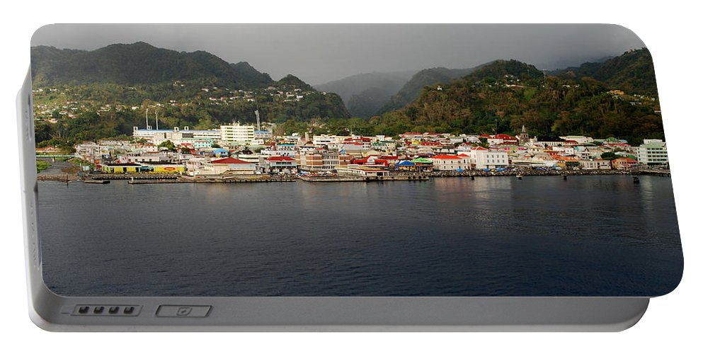Island Paradise Portable Battery Charger featuring the photograph Roseau Dominica by Gary Wonning