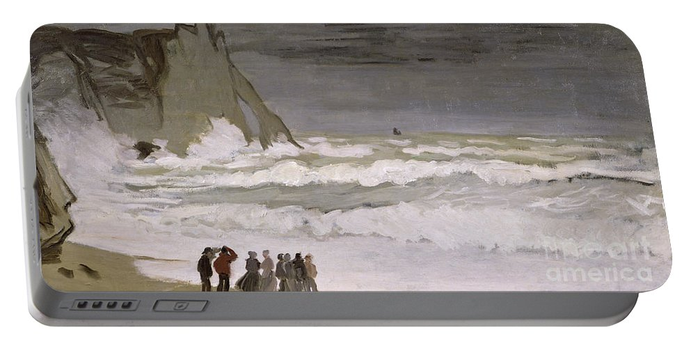 Rough Sea At Etretat Portable Battery Charger featuring the painting Rough Sea At Etretat by Claude Monet