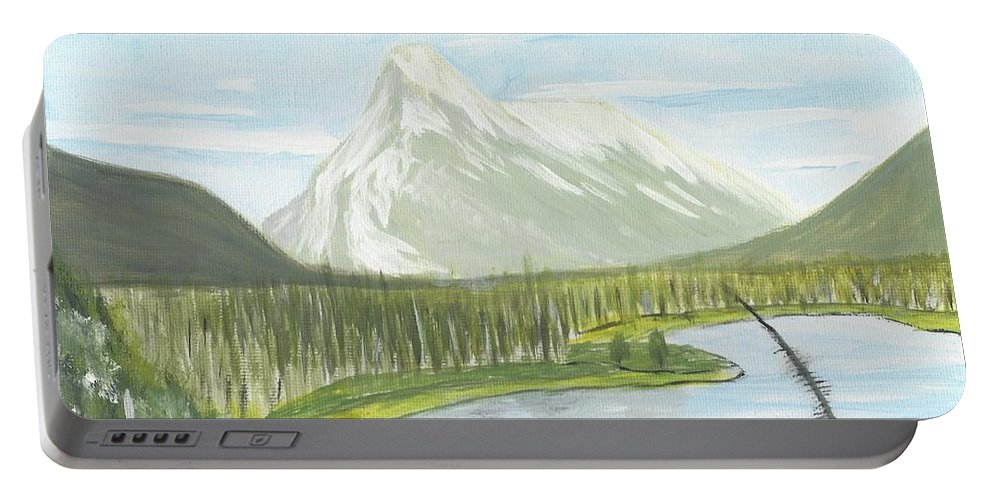 Acrylic Portable Battery Charger featuring the painting Rundle From Banff by Nicki Bennett