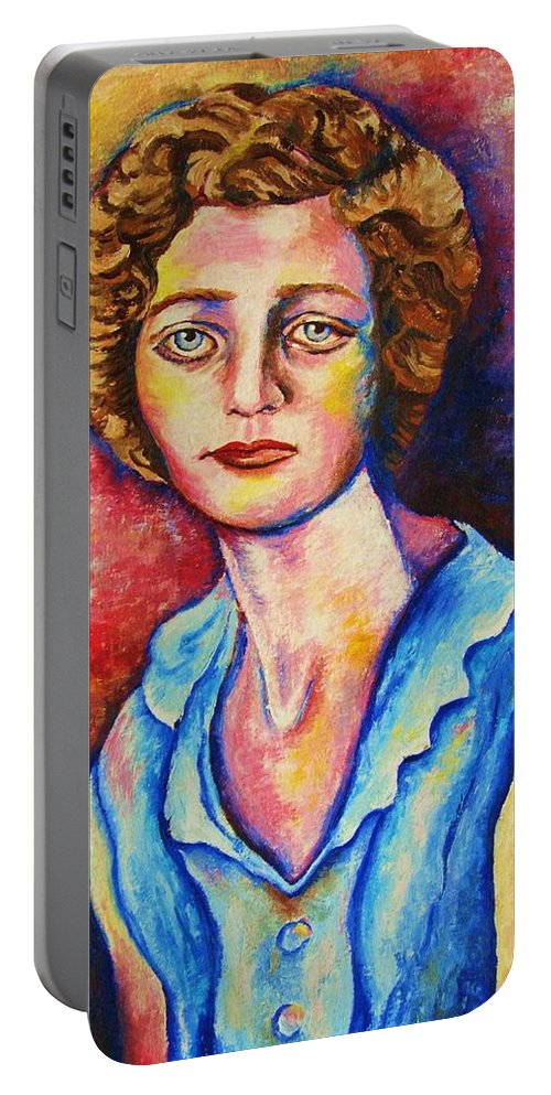 Portraits Portable Battery Charger featuring the painting Sad Eyes by Carole Spandau
