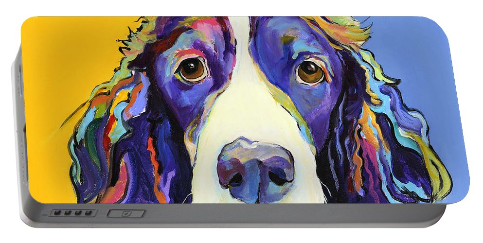 Blue Portable Battery Charger featuring the painting Sadie by Pat Saunders-White