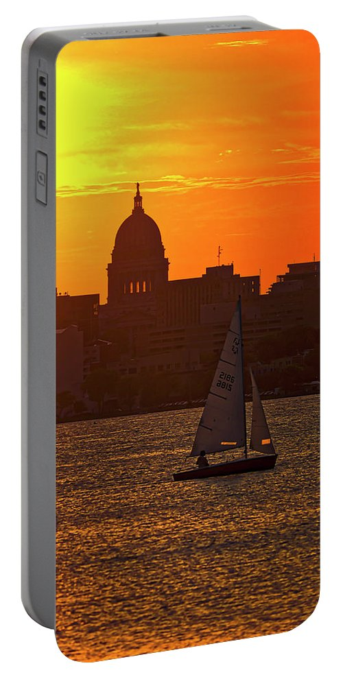 Capitol Portable Battery Charger featuring the photograph Sailing - Lake Monona - Madison - Wisconsin by Steven Ralser