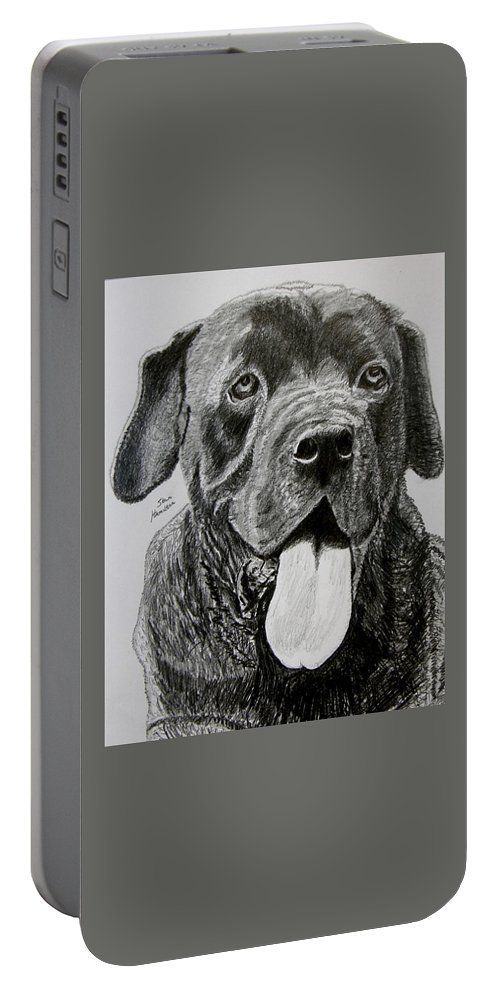 Dog Portrait Portable Battery Charger featuring the drawing Sampson by Stan Hamilton