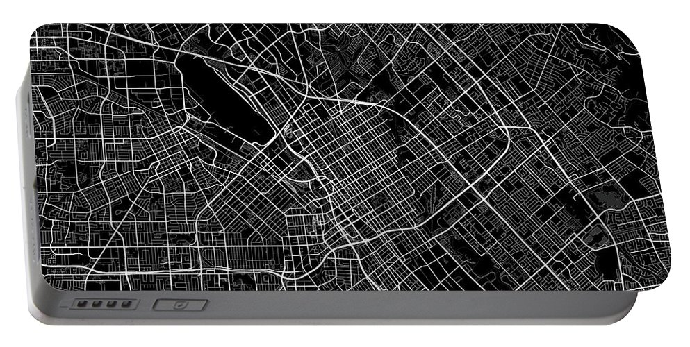 Road Map Portable Battery Charger featuring the digital art San Jose California Usa Dark Map by Jurq Studio