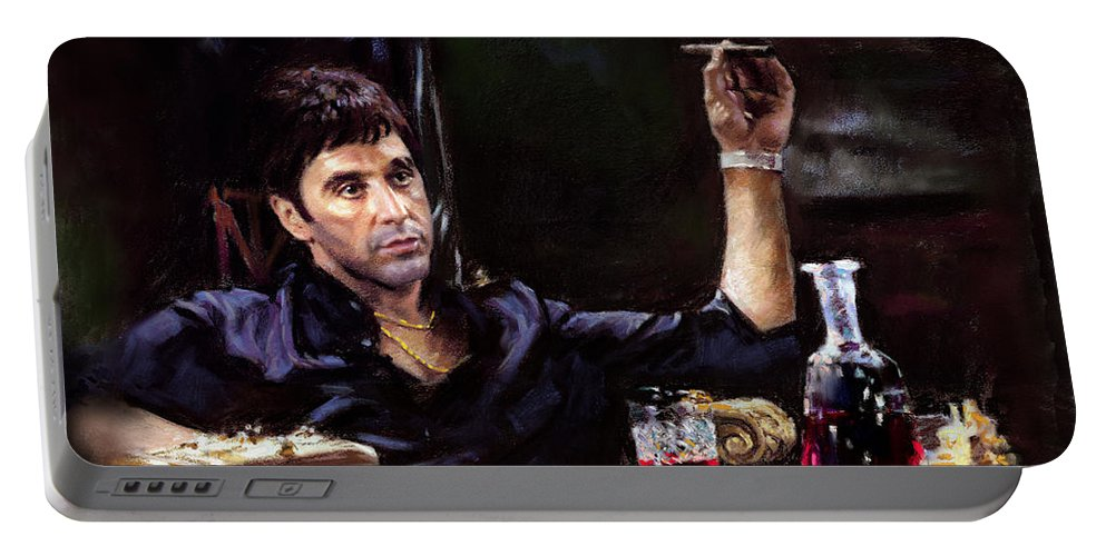 Al Pacino Portable Battery Charger featuring the pastel Scarface by Ylli Haruni