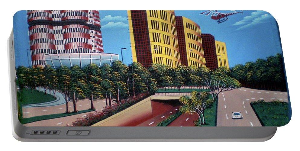 Background Portable Battery Charger featuring the painting Scenery1 by Mizan John