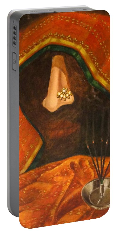 Scent Portable Battery Charger featuring the painting Scent Of A Woman by Usha Shantharam