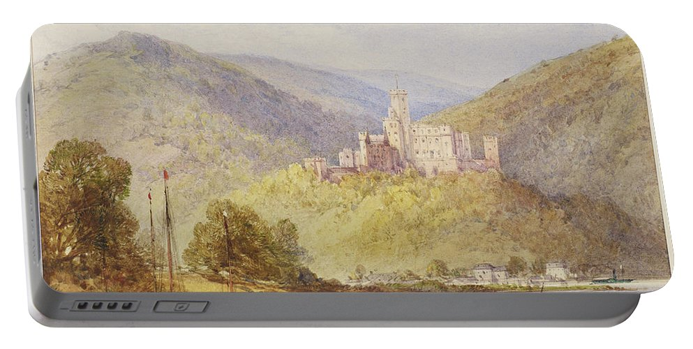 William Callow (1812-1908) Schloss Stolzenfels From The Banks Of The Lahn Dated 1887 Portable Battery Charger featuring the painting Schloss Stolzenfels From The Banks Of The Lahn by MotionAge Designs