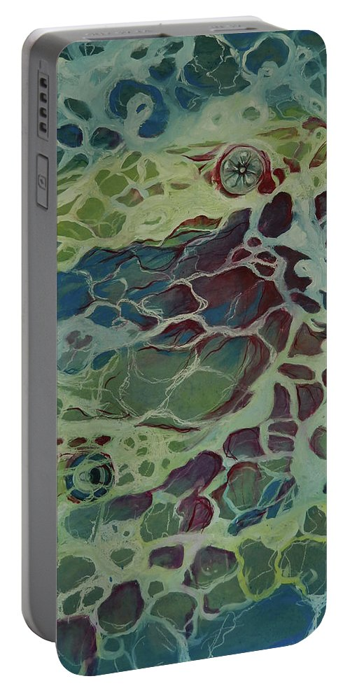 Sea Portable Battery Charger featuring the painting Sea Foam by Art Nomad Sandra Hansen