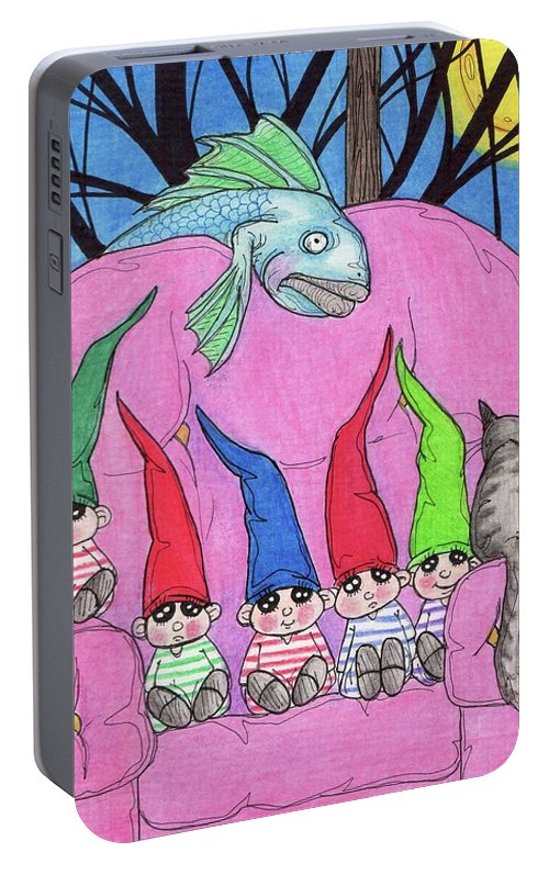 Gnome Portable Battery Charger featuring the painting Seven by Julie McDoniel