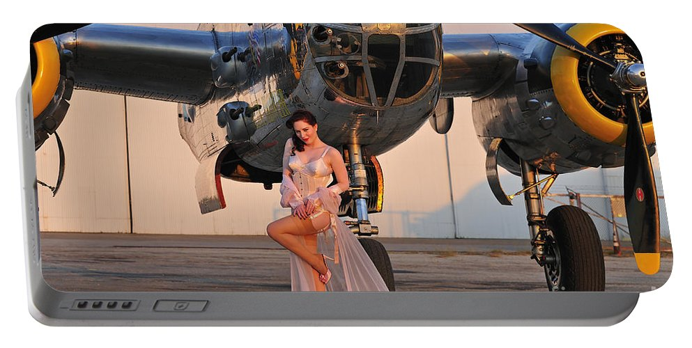 B-25 Portable Battery Charger featuring the photograph Sexy 1940s Pin-up Girl In Lingerie by Christian Kieffer