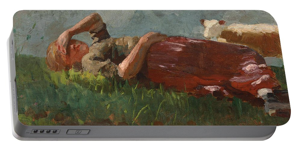 Winslow Homer Portable Battery Charger featuring the painting Shepherd Girl Resting by Winslow Homer
