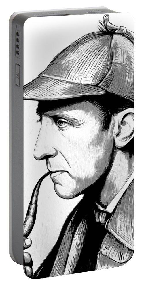 Sherlock Holmes Portable Battery Charger featuring the digital art Sherlock Holmes by Greg Joens