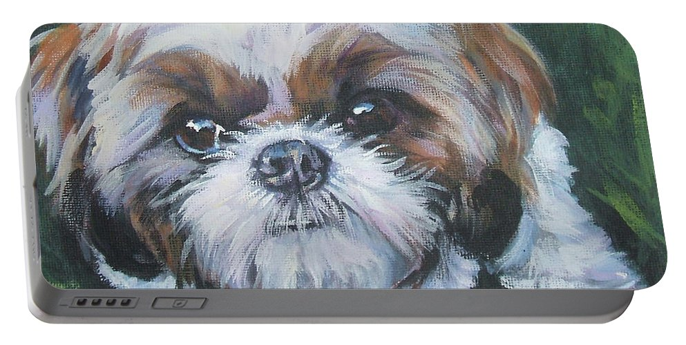 Shih Tzu Portable Battery Charger featuring the painting Shih Tzu by Lee Ann Shepard