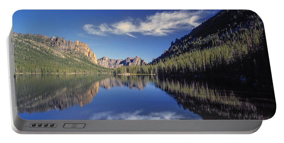 Altitude Portable Battery Charger featuring the photograph Ship Island Lake by Leland D Howard