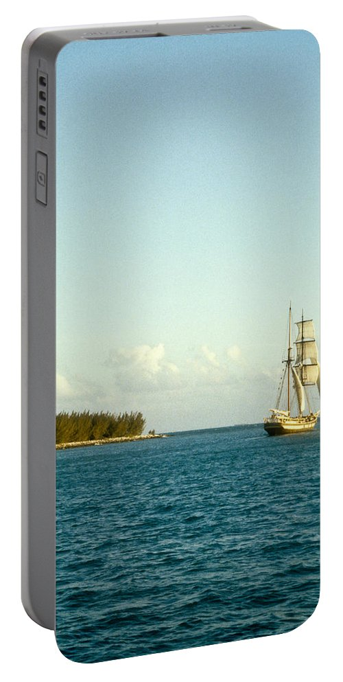 Ship Portable Battery Charger featuring the photograph Ship Off The Bow by Douglas Barnett