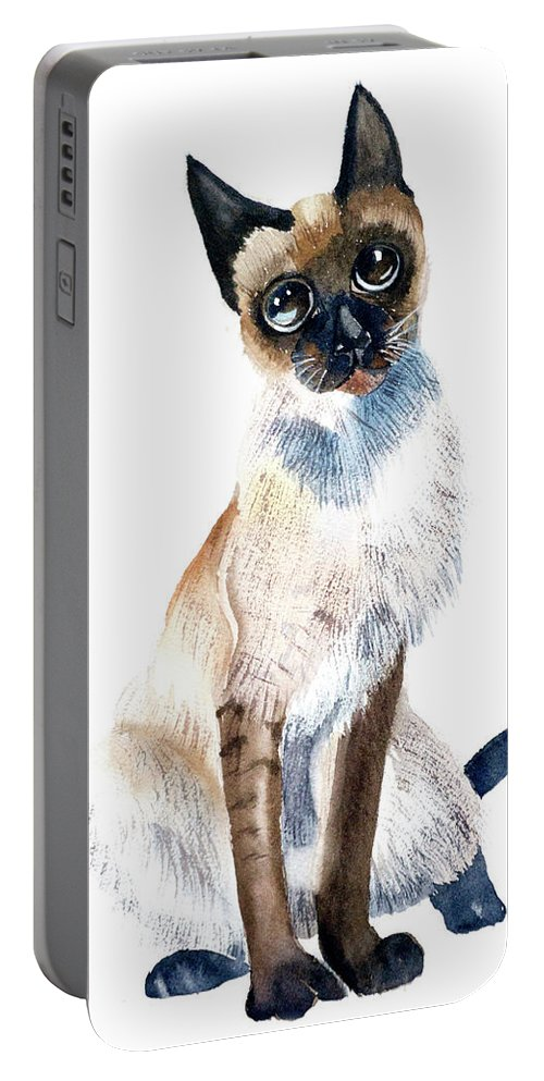 Siamese Portable Battery Charger featuring the painting Siamese Cat Painting by Paintis Passion