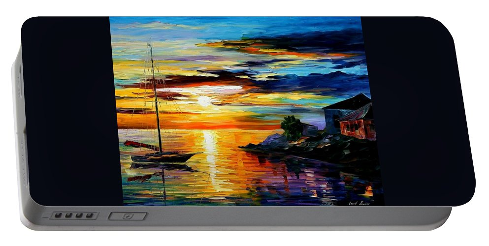 Afremov Portable Battery Charger featuring the painting Sicily - Messina by Leonid Afremov